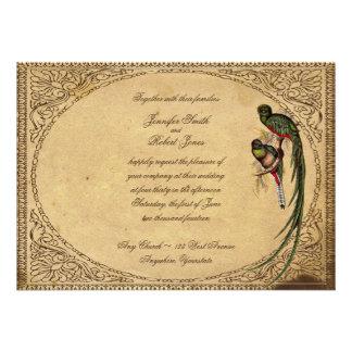 Invitación elegante del boda del pájaro de quetzal
