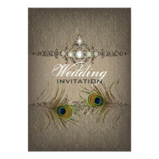 Invitación elegante del boda del pavo real del vin