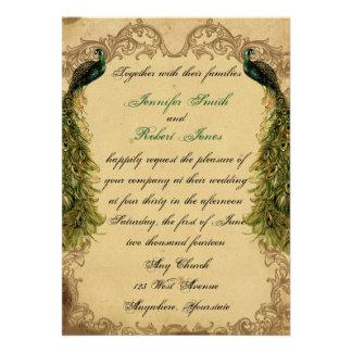 Invitación elegante del boda del pavo real elegant