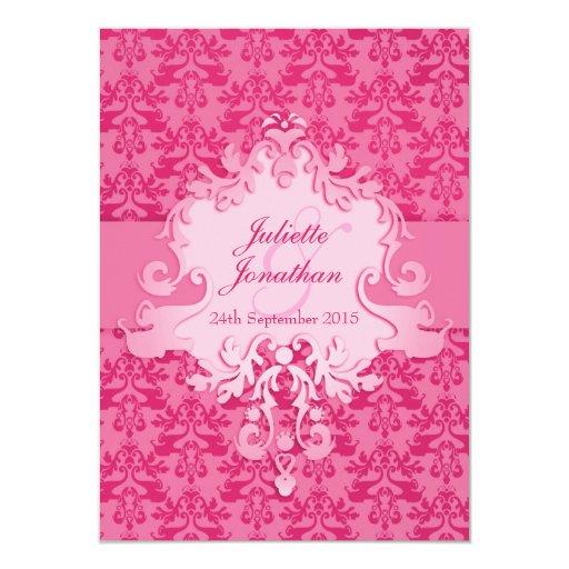 Invitación elegante del boda del rosa del damasco