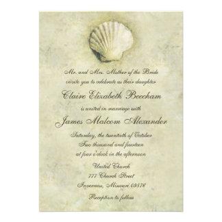Invitación elegante del boda del Seashell 5x7 de l