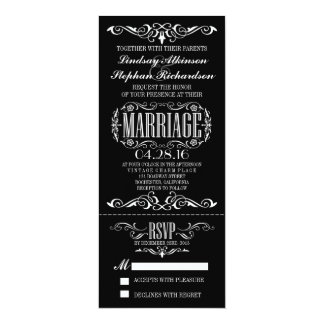 Invitación elegante del boleto del boda del