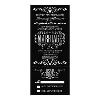 Invitación elegante del boleto del boda del vintag