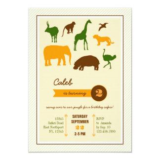 Invitación elegante del cumpleaños de los animales invitación 12,7 x 17,8 cm