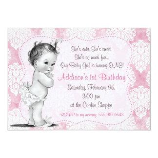 Invitación elegante del cumpleaños del damasco de