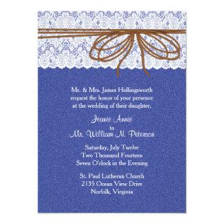 Invitación elegante del dril de algodón y del boda invitación 13,9 x 19,0 cm