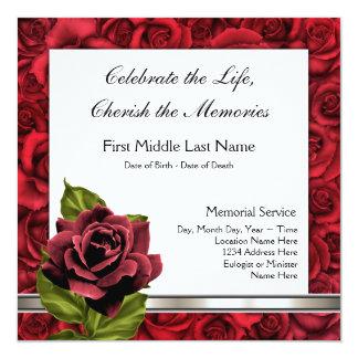 Invitación elegante del entierro del rosa rojo