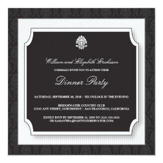 Invitación elegante del fiesta de cena del damasco