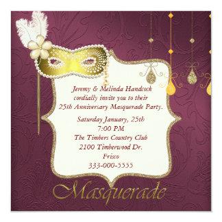 Invitación elegante del fiesta de la mascarada del