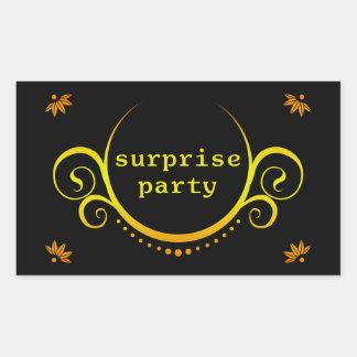 invitación elegante del fiesta de sorpresa pegatina rectangular