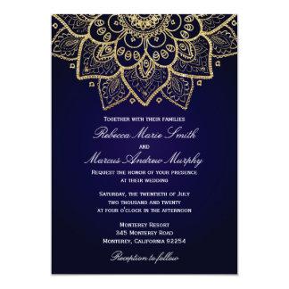 Invitación elegante del indio del oro