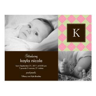 Invitación elegante del nacimiento de la niña de A Tarjetas Postales