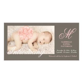 Invitación elegante del nacimiento de la niña de l tarjeta con foto personalizada