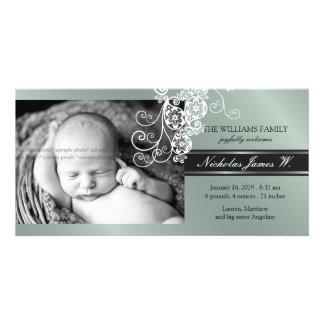 Invitación elegante del nacimiento del bebé de la tarjetas con fotos personalizadas