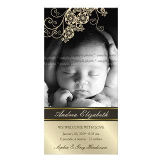 Invitación elegante del nacimiento del bebé de la tarjetas fotográficas