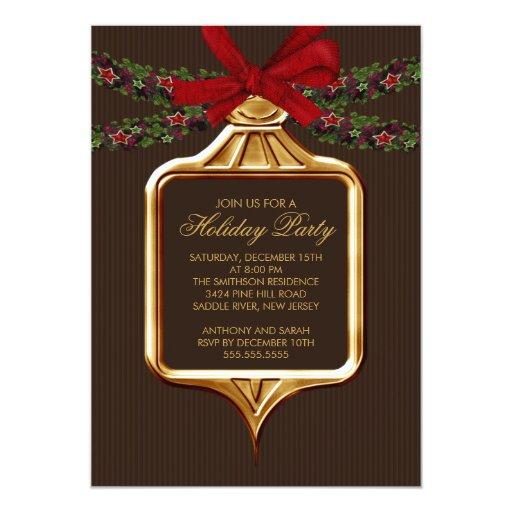 Invitación elegante del navidad del ornamento de