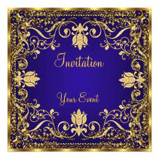 Invitación elegante del oro del azul real del vint