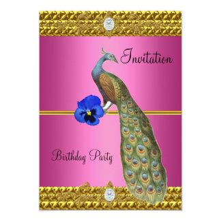 Invitación elegante del pavo real del oro