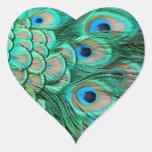 Invitación elegante del pavo real del vintage para pegatina de corazon personalizadas