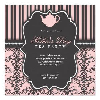 Invitación elegante del té del día del damasco y d