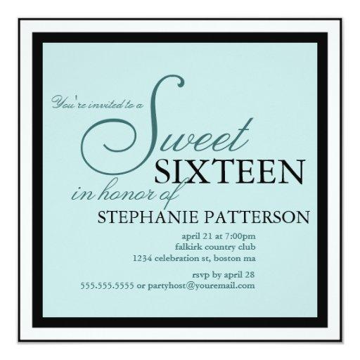 Invitación elegante del trullo del dulce dieciséis