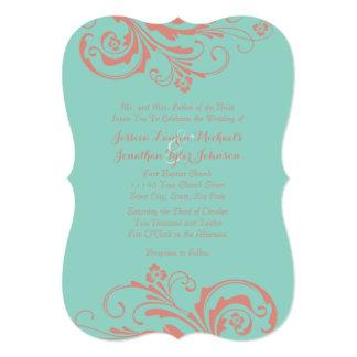 Invitación elegante floral del boda del coral y de