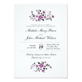 Invitación elegante floral púrpura de la cena del