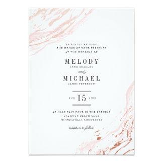 Invitación elegante moderna de mármol rosada del