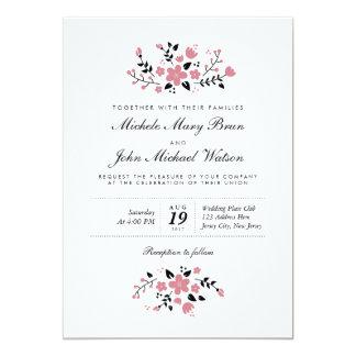Invitación elegante moderna floral bonita del boda invitación 12,7 x 17,8 cm
