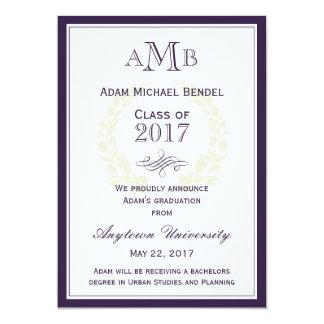Invitación elegante púrpura de la graduación del