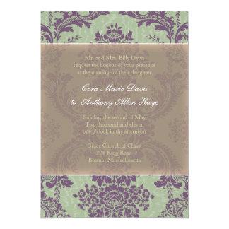 Invitación elegante púrpura del boda del damasco