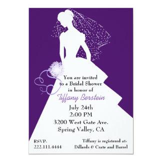 Invitación elegante púrpura y blanca de la ducha