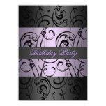 Invitación elegante púrpura y negra del cumpleaños invitación 11,4 x 15,8 cm