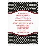 Invitación elegante roja de la graduación de Quatr