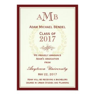Invitación elegante roja de la graduación del invitación 12,7 x 17,8 cm