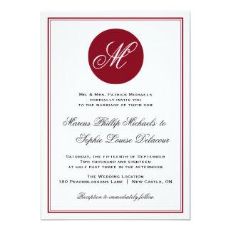Invitación elegante roja del boda del monograma de