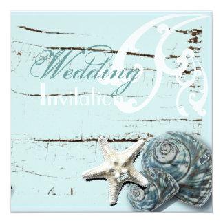Invitación elegante romántica del boda de playa