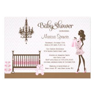 Invitación elegante rosada de la ducha de la niña