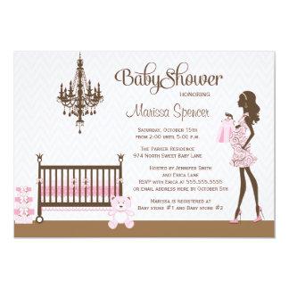 Invitación elegante rosada de la ducha de la niña invitación 12,7 x 17,8 cm