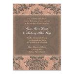 Invitación elegante rosada del boda del damasco