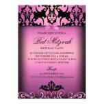 Invitación elegante rosada del fiesta de Mitzvah