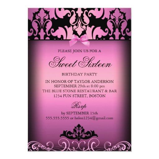 Invitación elegante rosada del fiesta del dulce