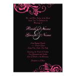 Invitación elegante rosada y negra del boda