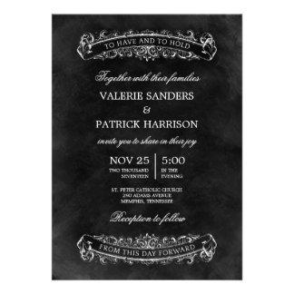Invitación elegante rústica del boda - negro