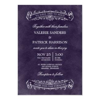 Invitación elegante rústica del boda - púrpura