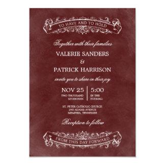 Invitación elegante rústica del boda - rojo