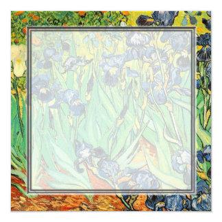 invitación en blanco, iris de Van Gogh