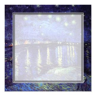 invitación en blanco, noche estrellada de Van Gogh