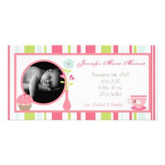 invitación en colores pastel del nacimiento de la tarjeta fotográfica personalizada