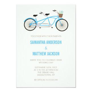 Invitación en tándem del boda de la bici - azul